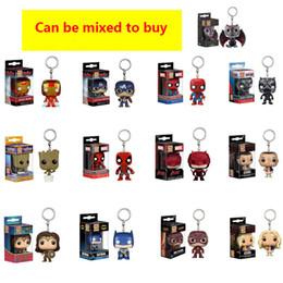 Funko POP Captain 10 / PC SET America Spiderman Wonder Woman Iron Man Albero Gruitt Portachiavi Ciondolo Figurine giocattolo per bambini iren1688 tworld cheap pop toys da giocattoli pop fornitori