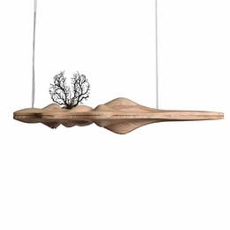Luz pendant japonês on-line-Modern Pingente De Madeira Maciça Luz Chinês Japonês Nordic Criativo Retro Ramo Lâmpada para Sala De Jantar Cozinha lâmpada de madeira