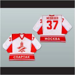 2019 jogador de hockey Personalizado XS-5XL Andrei Medvedev 37 Moscou Spartak Hóquei Jersey Branco Costurar Qualquer Jogador ou Número Frete Grátis jogador de hockey barato