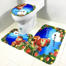 Juego de alfombras de baño. funda de baño. online-3 unidades / Set Patrón de Navidad de Navidad de Papá Noel Anti-silp Alfombra de baño Franela de contorno Alfombra Tapa Cubierta de inodoro Alfombra de baño