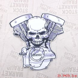 Große motorrad-patches online-large size Embroidered skull Crossbones Motor Patches PU leather biker rider Iron On Patches Motorcycle for Jackets