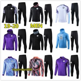 Canada 19 20 Homme survêtement de football Manchester City à capuche jacket 2019 2020 MAHREZ DE BRUYNE KUN AGUERO survetement foot training jogging Offre