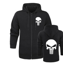 Sudadera con capucha drake online-The Punisher Skull Hoodies Hombres Zipper Fitness Casual Fleece Jacket Harajuku Sudaderas Drake Halloween Streetwear Hoody Homme Talla M-2XL