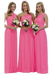Türkis Kleid eine Schulter Königsblau Rot Lila Brautjungfern Kleider Chiffon lange A-Linie Vintage Maid Honor Kleider Vestido Para Madrinha von Fabrikanten