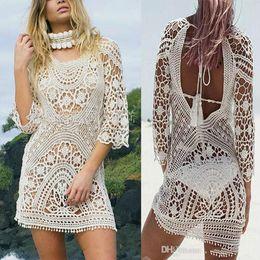 fb66359192a8f Fashion Women Bathing Suit Lace Crochet Bikini Cover Up Swimwear Summer  Beach Dress White Boho Sexy Hollow Knit Swimsuit