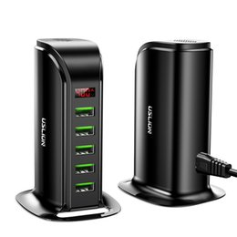 2019 hyundai auto ladegerät 5 Port USB-Ladegerät HUB LED Multi USB-Display-Ladestation Dock Universal Mobile Phone Desktop-Wand-Ausgangs EU UK-Stecker