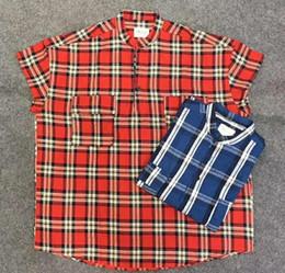 camicia a scacchi rossi Sconti Fear of god FOG 6a stagione 6 high street rosso blu a quadri camicia a maniche corte in henry di alta qualità Streetwear