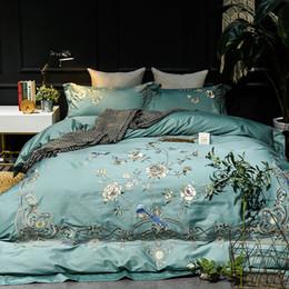 Lussuoso set di biancheria da letto in cotone egiziano 60S con ricami floreali di lusso blu Copripiumino matrimoniale king size Lenzuola Lenzuola Pillowca supplier luxury egyptian cotton sheets da lenzuola di cotone egiziano di lusso fornitori