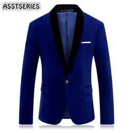 Homens de terno de veludo on-line-Asstseries Blazer Men Slim Fit Red Suit Jacket casamento Velour Royal Classic Azul Ternos vestido de veludo Blazers noivo Homens Blazer