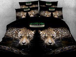 Tierdruckblätter könig online-Leopard Bettwäsche Set Luxus Tröster Tagesdecke Bettlaken Bettbezug Animal Print Super King Queen Size volle Twin 5 STÜCKE
