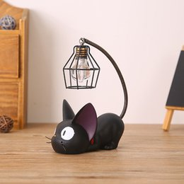 Cats miniature online-Piccola Cat Night Light Resina Artigianato Decorazione Creativo Ornamento artigianale Decorazione della casa Accessorie Manualidades Decorazione in miniatura