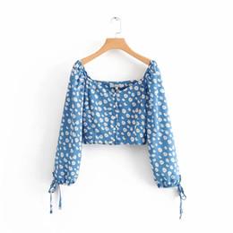 camicetta superiore delle donne coreane delle signore Sconti Top crop donna estate e camicette a maniche lunghe camicetta floreale donna camicie casual da donna top koreano abbigliamento boho