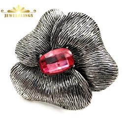 Старый европейский стиль полированный лепесток розовый камень арт-деко брошь цветок серебряный тон граненый прямоугольный горный хрусталь металлический цветок булавка supplier metal pin art от Поставщики металлический штифт
