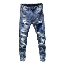 Uomini jeans scarni conici online-Skinny Stretch Jeans Uomo Summer Biker Moto High Street Contrast Colore Blu Jeans strappati Jeans Tapered Slim Leg