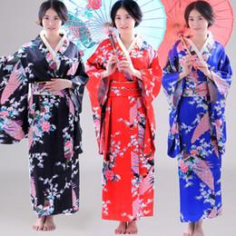 Moda Tendencias nacionales Mujeres Sexy Kimono Yukata con vestido de noche Obi Novelty Cosplay japonés Floral talla única desde fabricantes