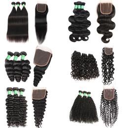 Extensiones de cabello Remy Virgin Human Weave Tramas 4 * 4 Encierro Paquetes 8-28 pulgadas Cuerpo profundo Onda suelta Sin procesar Doble trama Parte libre desde fabricantes