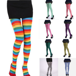 Collant a strisce online-Sexy Footed Calze Calza Calze a righe Calze Sock Hi Halloween Coscia