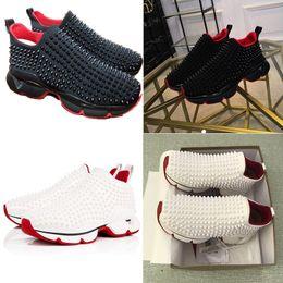 2019 superestrellas de futbol Zapatillas 2019 para hombre de diseño Rojo para correr Zapatillas Krystal Spike Sock Zapatillas deportivas de lujo con remaches de neopreno Zapatillas planas para mujer Spike-Sock