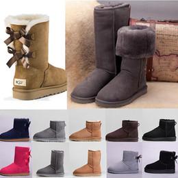 Hohe pelzschnee stiefel online-Australien 2020 Neueste Produkte Winter Schnee Stiefel Women Without Box Classic Tall Leder Bogen-Mädchen-Schuhe sz5-10 Wolle Fur Billig Preis Stiefel