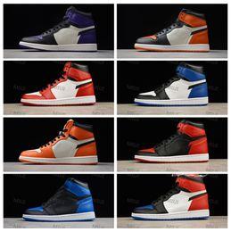 2019 anillo de baloncesto Top 1 High OG Bred Toe Negro Red Shadow Hombres Zapatos de baloncesto 1s Zapatillas deportivas de cuero genuino 6 Anillos Poker Homenaje a Homex anillo de baloncesto baratos