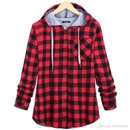 Signore lungo cappotto rosso online-Moda Donna Primavera Autunno Rosso Blu Cotone pulsante casual Felpa con cappuccio oversize cappotto signore a maniche lunghe con cappuccio a quadri più 2XL