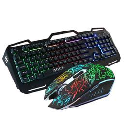 Cojín de la mano del usb online-Retroiluminación Mecánica Gaming Keyboard Mouse Set a prueba de agua con cable USB 1600Dpi Para el juego en casa de la oficina con el titular de la mano Mouse Pad