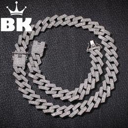 2019 цепное ожерелье Новый цвет 20мм Пронг кубинский звеньевые цепи ожерелья Hiphop ювелирных изделий 3 Роу Стразы Iced Out Ожерелье для мужчин