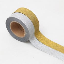 Nastro adesivo oro online-15mm * 10 m Giapponese oro argento Glitter Washi Tape Cancelleria Kawaii Scrapbooking Strumenti Nastro Adesivo Adesivo Decorativa Colorato 2016