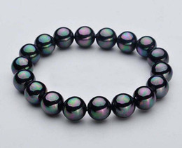 """8//10//12mm Natural Black South Sea Shell Pearl Round Beads Stretch Bracelet 7.5/"""""""
