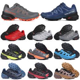 Acheter Trple Noir Salomon Speed cross 5 V CS Hommes Chaussures De Course Respirant Hommes Formateurs Imperméable Athlétique Jogging Randonnée
