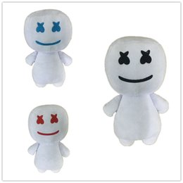 candy toy doll Promo Codes - 25CM New Cartoon DJ headset electronic syllable cotton candy DJ headset marshmello plush toy doll Halloween gift 3 colors MMA1812