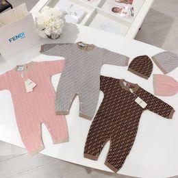 Baby overall häkeln online-Newbron Baby-Strick Strampelhöschen Baby-Kinder Art und Weise Häkeloptik einteilige Overalls + Hut bebe Kleidung Klettern