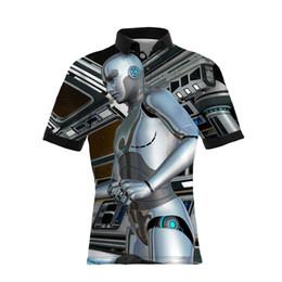 2019 robot vestiti 19SS Hot Sellers 3 D Robot stampa digitale Casual da uomo Polo GRANDI DIMENSIONE Mens Luxury Designer Abbigliamento versione sciolto robot vestiti economici