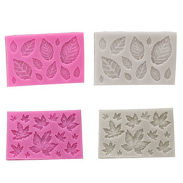 Мини-розовый силикон онлайн-Лист Фондант Силиконовые Формы 3D Mini Rose Shaped Листья DIY Торт Плесень Кекс Инструмент Украшения