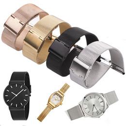 Reloj pulsera de acero 18mm online-Bandas de reloj milanesa Loop 16mm 18mm 20mm 22mm 24mm Tejida de acero inoxidable Correa de reloj Pulsera de metal Doble broche de accesorios