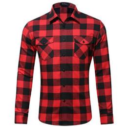 Tela de franela a cuadros online-2019 nuevo algodón tela a cuadros de franela estilo europeo y americano doble bolsa camisa de los hombres ropa