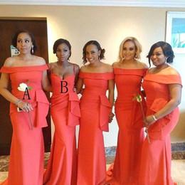 Vestido de noche de retrato online-Sirena de coral africana Sirena Vestidos de dama de honor 2019 Retrato Cuello Longitud del piso Más el tamaño por la noche Vestido de fiesta Vestidos de boda BC2089