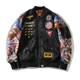 hip hop bomber jacket Coupons - 2019 NEW Brand Mens Jacket MA-1 Pilot Jacket Kanye West Bomber Jackets Sport Suit Parkas Male Hip Hop Aape Coats Streetwea M-2XL