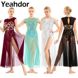 Maxi kleid modern online-Erwachsene Frauen Floral Pailletten Sleeveless Tank Trikot Maxi-Kleid Moderner Zeitgenössischer Tanz Lyrical Dance Dress Performance Kleider
