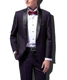 Esmoquin de graduacion online-Nuevo traje de los hombres morados oscuros 2 piezas de moda solapa de esmoquin clásicas de fiesta de graduación de fiesta Balzer plana para la fiesta (Blazer + pantalones)