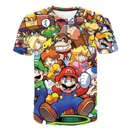 Champignons t-shirts en Ligne-Super Mario Bros Mashup enfants T-shirt Top Mushroom Kingdom Luigi Geek garçons Simple Splicing italiens et les filles T-Tops