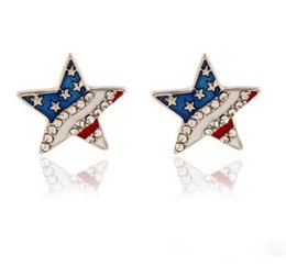 Argentina Joyería Pendientes de botón Patrón de la bandera nacional de EE. UU. Estrella en forma de corazón Niñas / Señoras Diamante de imitación Adornado Oreja Prendedores Pendientes Suministro