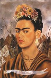 Olio di ritratto moderno online-Frida Kahlo Art Autoritratto, Riproduzione della pittura a olio Stampa giclée di alta qualità su tela Modern Home Art Decor 180