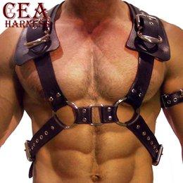 Juegos para adultos gay online-CEA.HARNESS Arnés de cuero Hombres Bondage Belt Gay Adult Game Outfit Ajustable Chest Crop Top Suspender Male Garter Costume