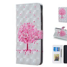 carteira de telefone rosa Desconto Tampa da caixa do telefone com tridimensional rosa 3d pequeno projeto da árvore com o titular do cartão de carteira
