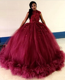 sky blue dresses for quinceanera Promo Codes - African Burgundy Ball Gown Quinceanera Dresses Jewel Cap Sleeve Applqieus Ruched Prom Party Gowns For Sweet 15 vestidos de 15 anos