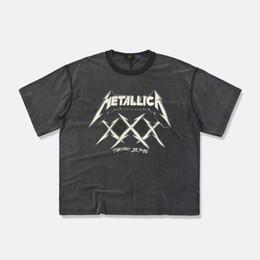 cortos de la venda de la roca Rebajas 19ss METALLICA Camiseta Fear of God Camiseta de manga corta de verano para hombre 3D Tops Harajuku bordado Rock and Roll Band Metallica camiseta