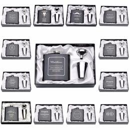 Favores do casamento do presente do dia gravada personalizada seis onças Hip Flask aço inoxidável com branco preto do aniversário dos Namorados Box de