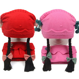 30edfb75e30 Winter Warm Baby Hat Scarf Set For Girls Long Braid Wigs Knit Beanie Hats  Children Skullies Cap And Scarves 2 Pcs Suit MZ7024