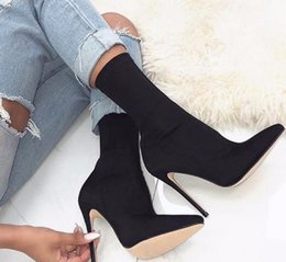 Botas altas online-2019 Carson punta estrecha Carda grapa puntiaguda estilete tacones altos zapatos mujer botas Garda botines negro rosa 43